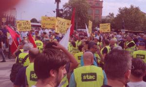 Taxistas en huelga en Barcelona UATAE