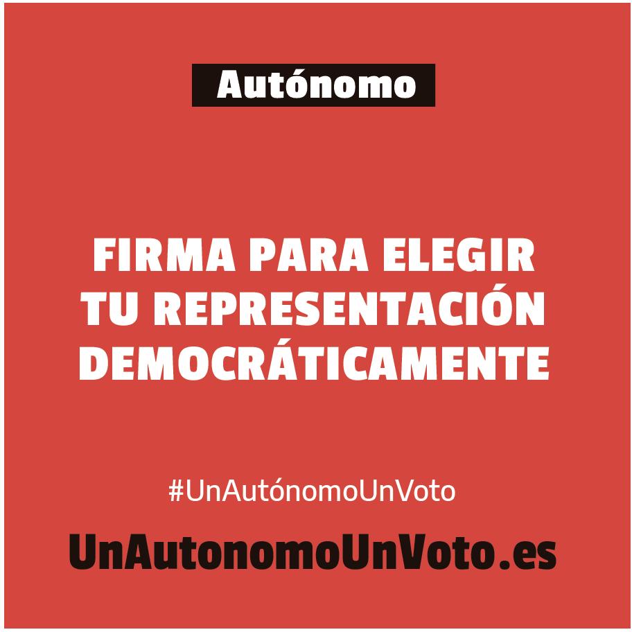 Banner campaña Un Autónomo Un Voto UATAE