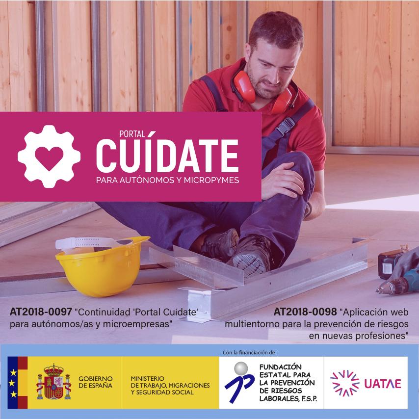 Banner de prevención de riesgos laborales en autónomos Portal Cuídate 2019 UATAE