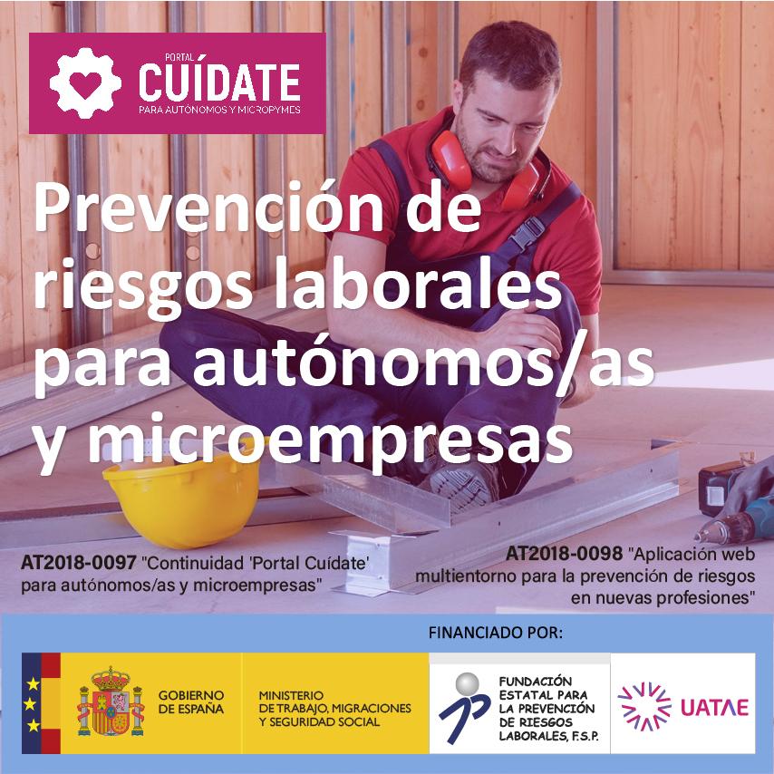 Banner sobre prevención de riesgos laborales para autónomos gratis en UATAE